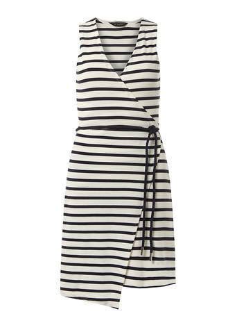 Womens Navy Stripe Wrap Dress White - style: faux wrap/wrap; neckline: v-neck; pattern: horizontal stripes; sleeve style: sleeveless; waist detail: belted waist/tie at waist/drawstring; predominant colour: white; secondary colour: black; occasions: evening; length: just above the knee; fit: body skimming; fibres: cotton - stretch; sleeve length: sleeveless; pattern type: fabric; texture group: jersey - stretchy/drapey; multicoloured: multicoloured; season: s/s 2016; wardrobe: event