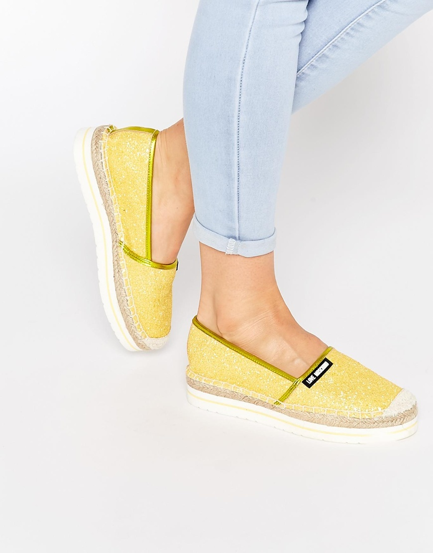 Yellow Glitter Espadrille Flat Shoes Yellow - predominant colour: yellow; occasions: casual, holiday; material: fabric; heel height: flat; toe: round toe; finish: plain; pattern: plain; style: espadrilles; season: s/s 2016; wardrobe: highlight