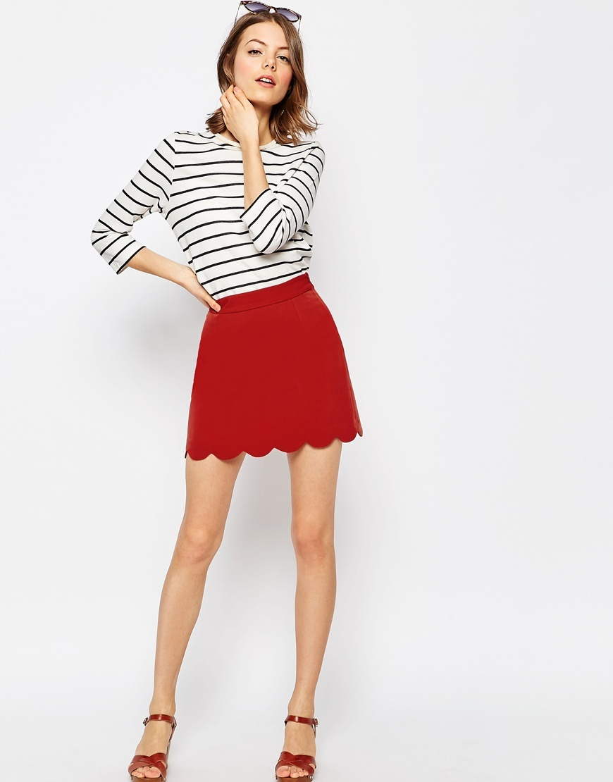 A Line Mini Skirt With Scallop Hem Brick - length: mini; pattern: plain; fit: body skimming; waist: mid/regular rise; predominant colour: terracotta; occasions: casual; style: mini skirt; fibres: polyester/polyamide - stretch; texture group: crepes; pattern type: fabric; season: s/s 2016; wardrobe: highlight