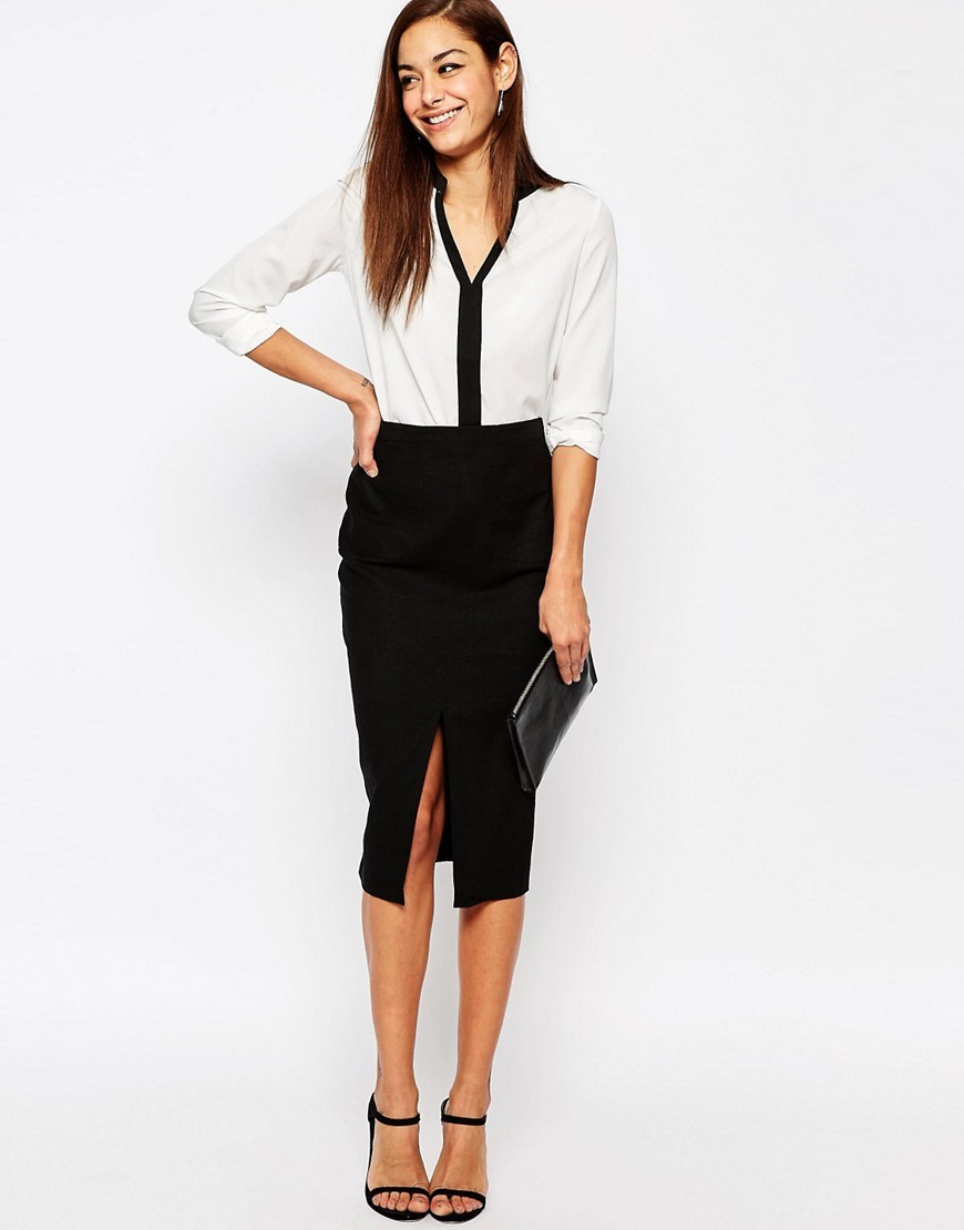 Linen Pencil Skirt With Pocket Detail Black - length: below the knee; pattern: plain; style: pencil; fit: tailored/fitted; waist: high rise; hip detail: draws attention to hips; predominant colour: black; occasions: work; fibres: linen - 100%; pattern type: fabric; texture group: woven light midweight; season: s/s 2016; wardrobe: basic