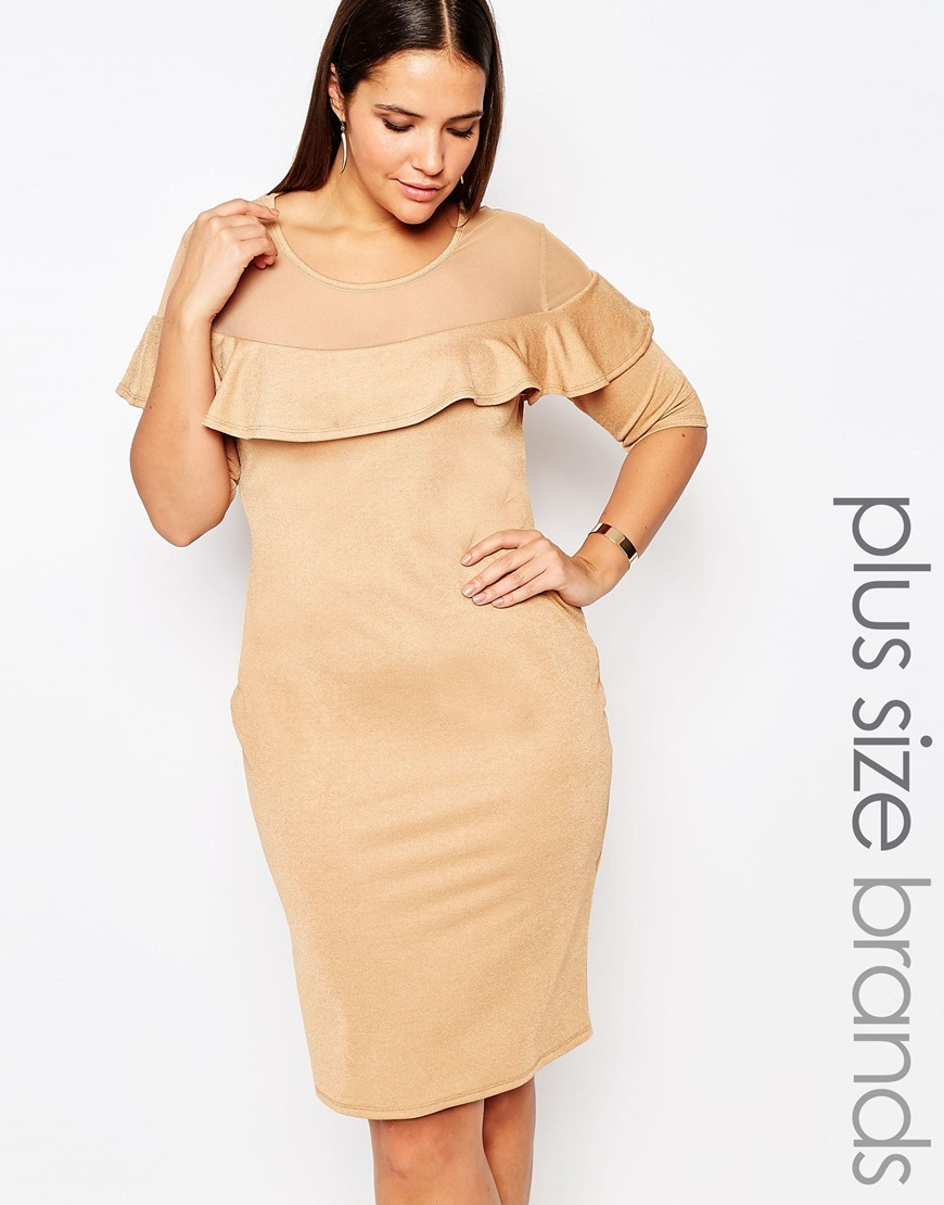 Mesh Insert Ruffle Front Dress Beige - fit: tight; pattern: plain; style: bodycon; predominant colour: camel; occasions: evening, occasion; length: on the knee; fibres: polyester/polyamide - stretch; neckline: crew; sleeve length: long sleeve; sleeve style: standard; bust detail: bulky details at bust; pattern type: fabric; texture group: jersey - stretchy/drapey; season: s/s 2016; wardrobe: event