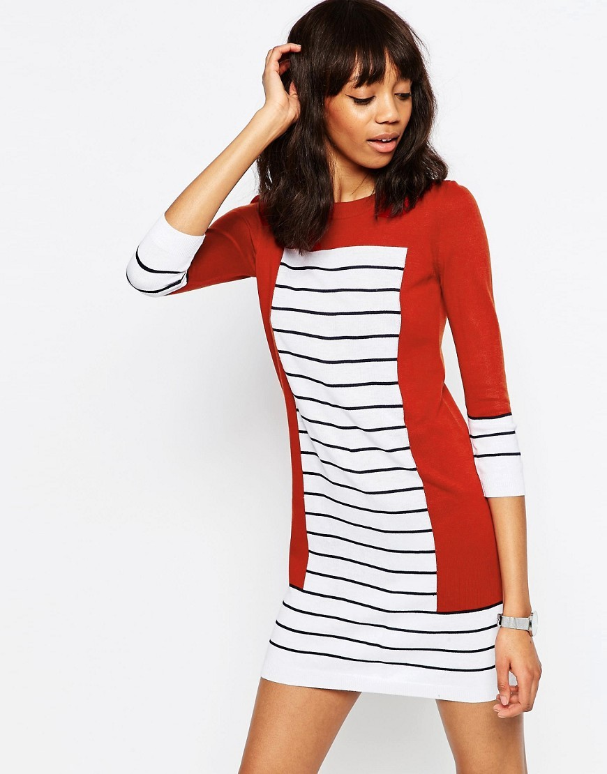 Knit Dress In Stripe With Blocking Red - style: shift; length: mini; pattern: horizontal stripes; predominant colour: white; secondary colour: true red; occasions: casual, evening, creative work; fit: body skimming; fibres: acrylic - 100%; neckline: crew; sleeve length: 3/4 length; sleeve style: standard; texture group: knits/crochet; pattern type: fabric; multicoloured: multicoloured; season: s/s 2016; wardrobe: highlight