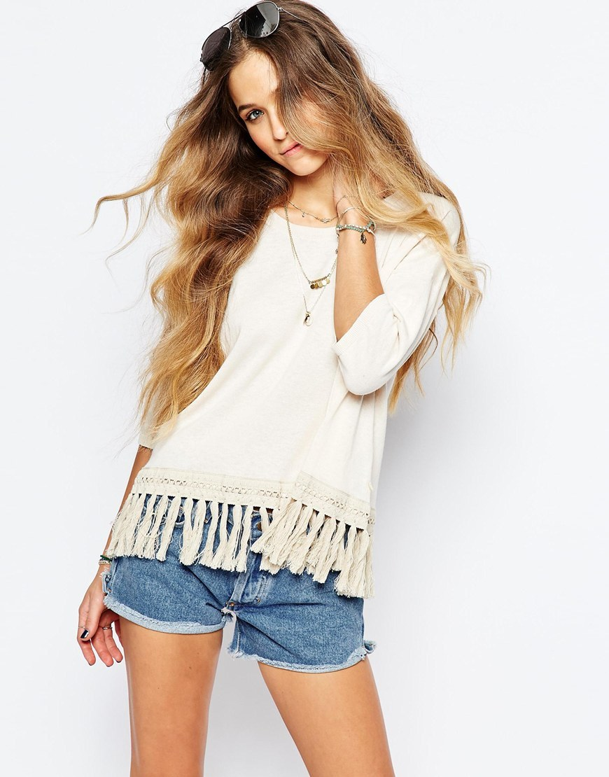 Short Sleeve Knit With Fringed Hem Cream - neckline: round neck; pattern: plain; style: standard; predominant colour: ivory/cream; occasions: casual, creative work; length: standard; fibres: cotton - mix; fit: standard fit; hip detail: added detail/embellishment at hip; sleeve length: 3/4 length; sleeve style: standard; texture group: knits/crochet; pattern type: knitted - fine stitch; season: s/s 2016