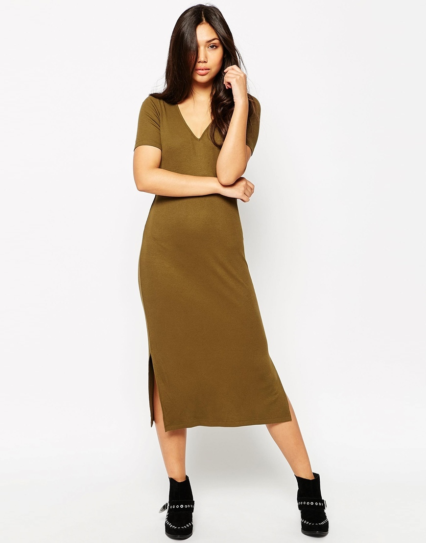 Ribbed T Shirt Midi Dress With V Neck Khaki - style: t-shirt; length: calf length; neckline: v-neck; pattern: plain; hip detail: draws attention to hips; predominant colour: khaki; occasions: casual; fit: body skimming; fibres: viscose/rayon - stretch; sleeve length: short sleeve; sleeve style: standard; pattern type: fabric; texture group: jersey - stretchy/drapey; season: s/s 2016; wardrobe: basic