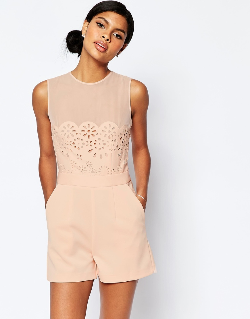 Occasion Laser Cut Playsuit Blush - fit: tailored/fitted; pattern: plain; sleeve style: sleeveless; length: short shorts; predominant colour: blush; occasions: evening, occasion; fibres: polyester/polyamide - stretch; neckline: crew; bust detail: contrast pattern/fabric/detail at bust; sleeve length: sleeveless; style: playsuit; pattern type: fabric; texture group: other - light to midweight; embellishment: lace; season: s/s 2016; wardrobe: event