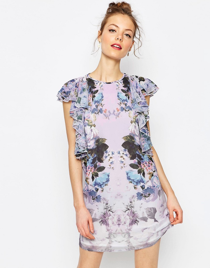 Floral Ruffle Mini Shift Dress Multi - style: shift; length: mid thigh; sleeve style: capped; predominant colour: lilac; secondary colour: pale blue; occasions: evening; fit: soft a-line; fibres: polyester/polyamide - 100%; neckline: crew; shoulder detail: bulky shoulder detail; sleeve length: short sleeve; texture group: crepes; pattern type: fabric; pattern: patterned/print; season: s/s 2016; wardrobe: event