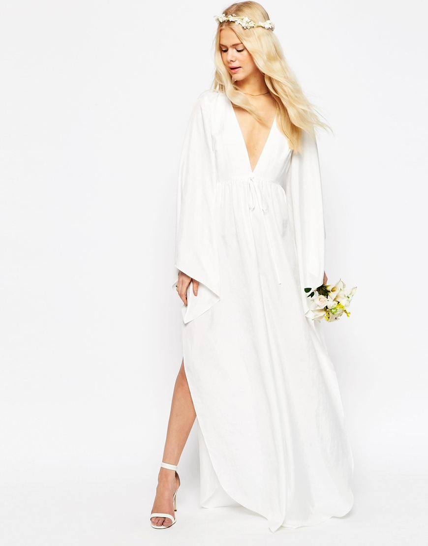 Bridal Waterfall Jumpsuit With Tie Waist Off White - length: standard; neckline: plunge; fit: loose; pattern: plain; sleeve style: kimono; waist detail: fitted waist; predominant colour: white; fibres: polyester/polyamide - 100%; occasions: occasion; sleeve length: long sleeve; texture group: crepes; style: jumpsuit; pattern type: fabric; season: s/s 2016; wardrobe: event