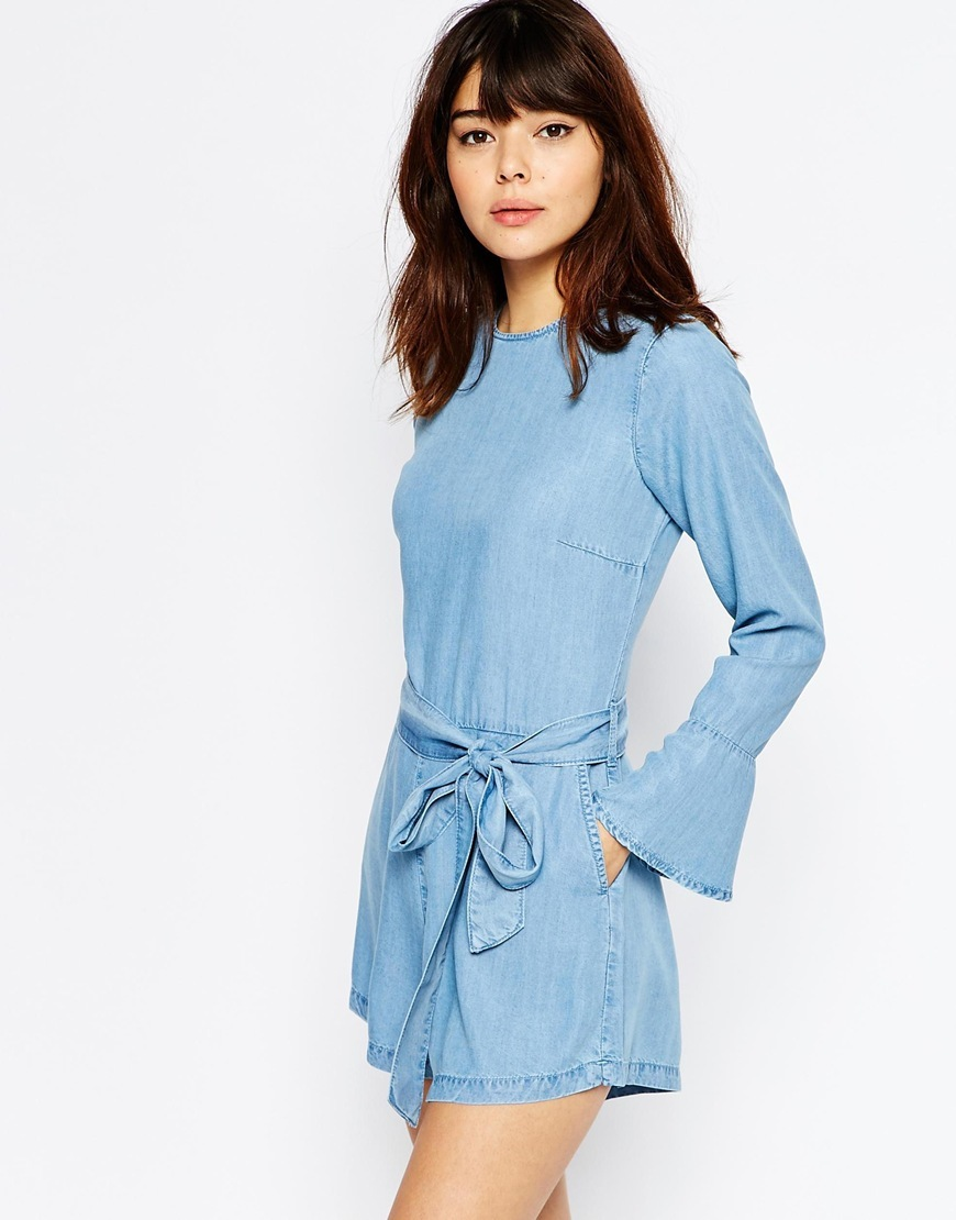Denim Frill Cuff Playsuit In Light Blue Wash Lightwash Blue - sleeve style: bell sleeve; fit: tailored/fitted; pattern: plain; waist detail: belted waist/tie at waist/drawstring; length: short shorts; predominant colour: pale blue; occasions: casual, evening, creative work; fibres: viscose/rayon - 100%; neckline: crew; sleeve length: long sleeve; texture group: denim; style: playsuit; pattern type: fabric; season: s/s 2016; wardrobe: highlight