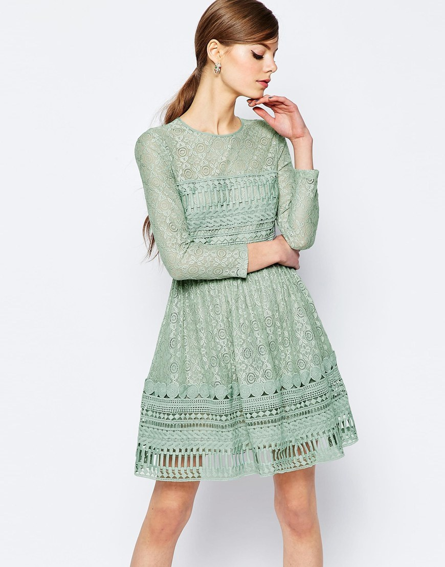 Premium Lace Skater Dress Mint - pattern: plain; predominant colour: pistachio; occasions: evening; length: just above the knee; fit: fitted at waist & bust; style: fit & flare; fibres: polyester/polyamide - 100%; neckline: crew; sleeve length: 3/4 length; sleeve style: standard; texture group: lace; pattern type: fabric; embellishment: lace; season: s/s 2016; wardrobe: event
