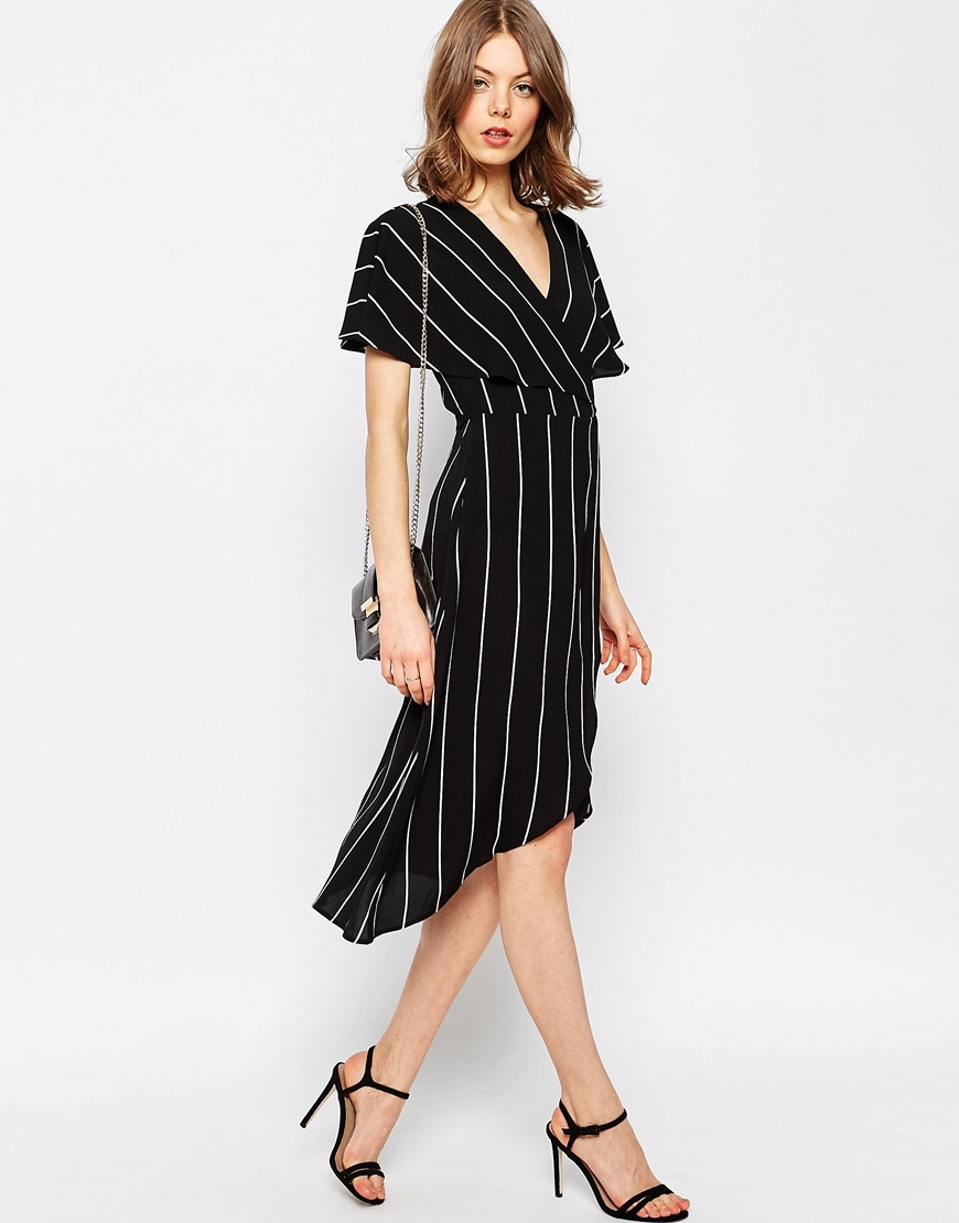 Stripe Wrap Midi Dress With Cape Detail Multi - style: faux wrap/wrap; neckline: low v-neck; pattern: vertical stripes; secondary colour: white; predominant colour: black; length: just above the knee; fit: body skimming; fibres: polyester/polyamide - stretch; sleeve length: short sleeve; sleeve style: standard; pattern type: fabric; texture group: other - light to midweight; occasions: creative work; season: s/s 2016; wardrobe: highlight