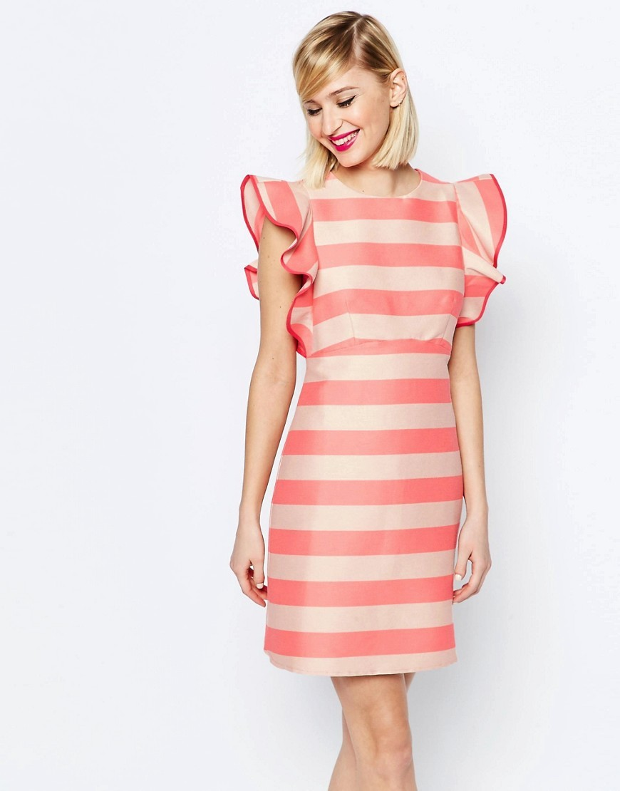 A Line Dress With Structured Frill Detail In Stripe Multi - style: shift; sleeve style: angel/waterfall; fit: tailored/fitted; pattern: horizontal stripes; secondary colour: ivory/cream; predominant colour: pink; occasions: evening; length: just above the knee; fibres: cotton - stretch; neckline: crew; sleeve length: short sleeve; texture group: structured shiny - satin/tafetta/silk etc.; pattern type: fabric; multicoloured: multicoloured; season: s/s 2016