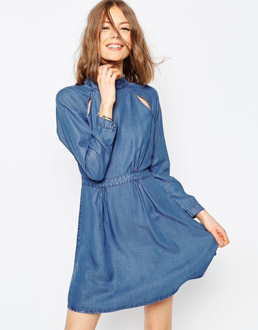 Denim Dress With Pie Crust Collar And Cutout In Mid Wash Blue Midwash Blue - length: mid thigh; pattern: plain; neckline: high neck; predominant colour: denim; occasions: casual; fit: fitted at waist & bust; style: fit & flare; fibres: viscose/rayon - 100%; sleeve length: long sleeve; sleeve style: standard; texture group: denim; pattern type: fabric; season: s/s 2016; wardrobe: basic
