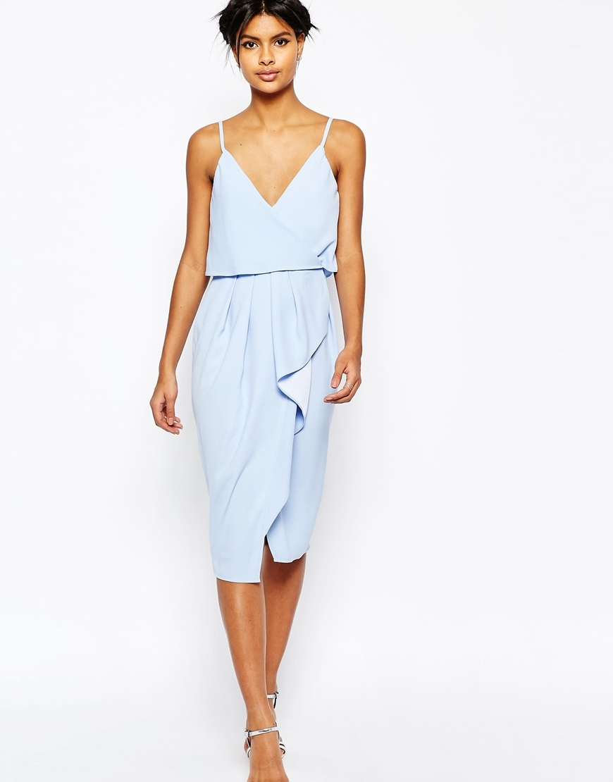 Cami Strap Crop Top Drape Pencil Dress Nude - length: below the knee; neckline: v-neck; pattern: plain; sleeve style: sleeveless; style: sundress; predominant colour: pale blue; occasions: evening; fit: body skimming; fibres: polyester/polyamide - 100%; sleeve length: sleeveless; pattern type: fabric; texture group: other - light to midweight; season: s/s 2016; wardrobe: event
