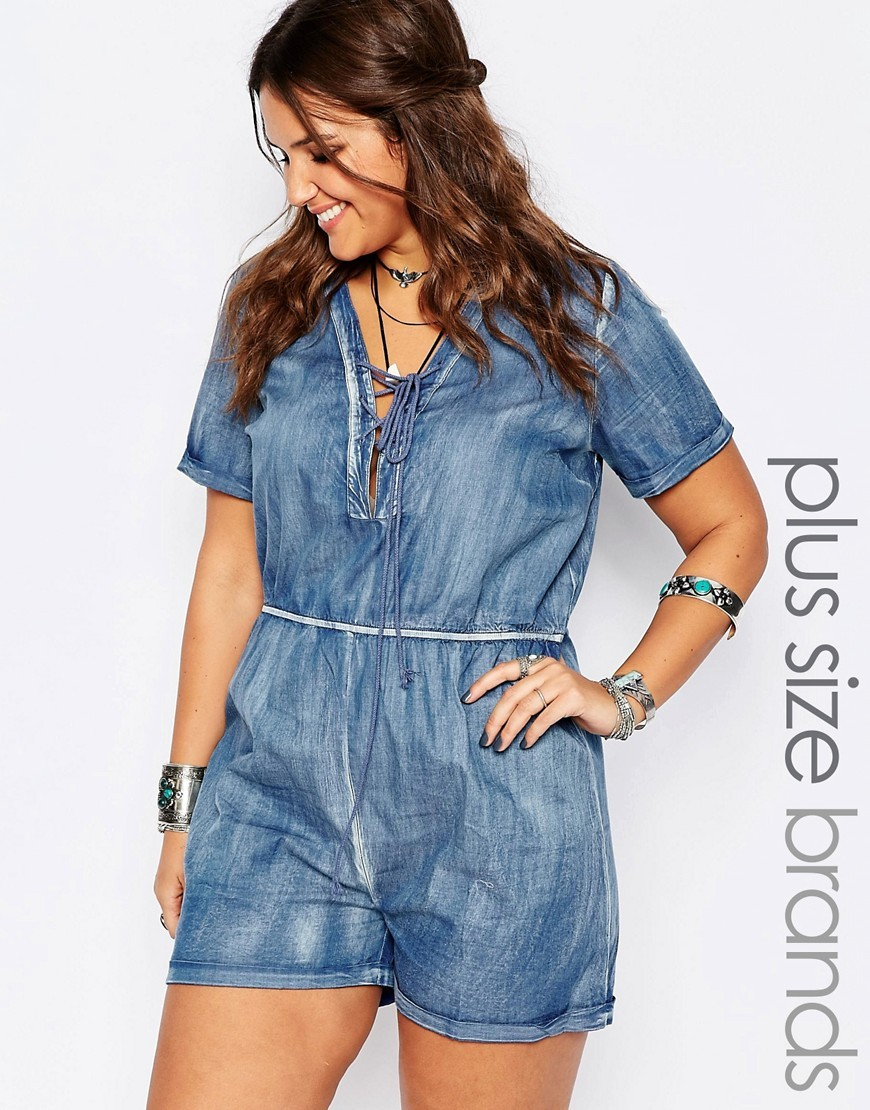 Lace Up Chambray Playsuit Blue - neckline: v-neck; pattern: plain; length: short shorts; predominant colour: denim; occasions: casual; fit: body skimming; fibres: cotton - 100%; sleeve length: short sleeve; sleeve style: standard; texture group: denim; style: playsuit; pattern type: fabric; season: s/s 2016; wardrobe: highlight