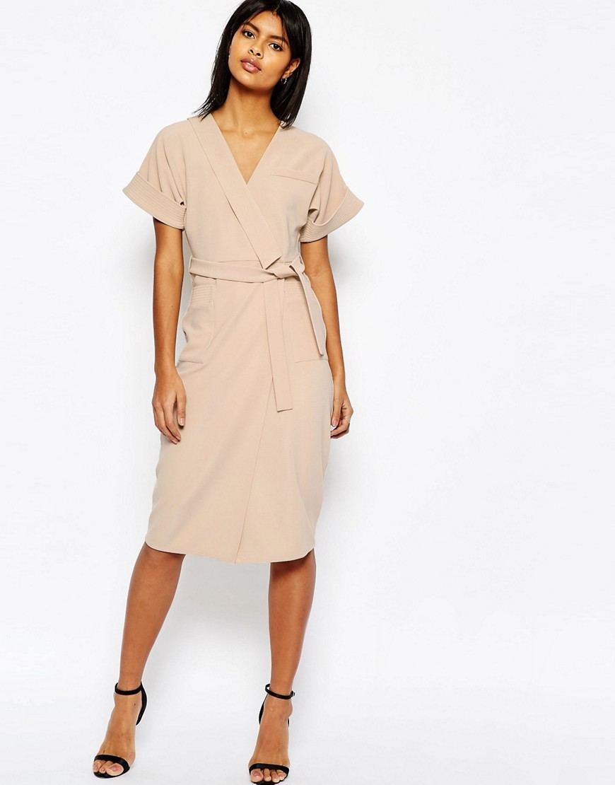 Structured Pencil Dress In Multi Stitch With Obi Wrap Nude - style: faux wrap/wrap; length: below the knee; neckline: v-neck; pattern: plain; waist detail: belted waist/tie at waist/drawstring; predominant colour: nude; occasions: evening; fit: body skimming; fibres: polyester/polyamide - stretch; sleeve length: short sleeve; sleeve style: standard; pattern type: fabric; texture group: other - light to midweight; season: s/s 2016; wardrobe: event