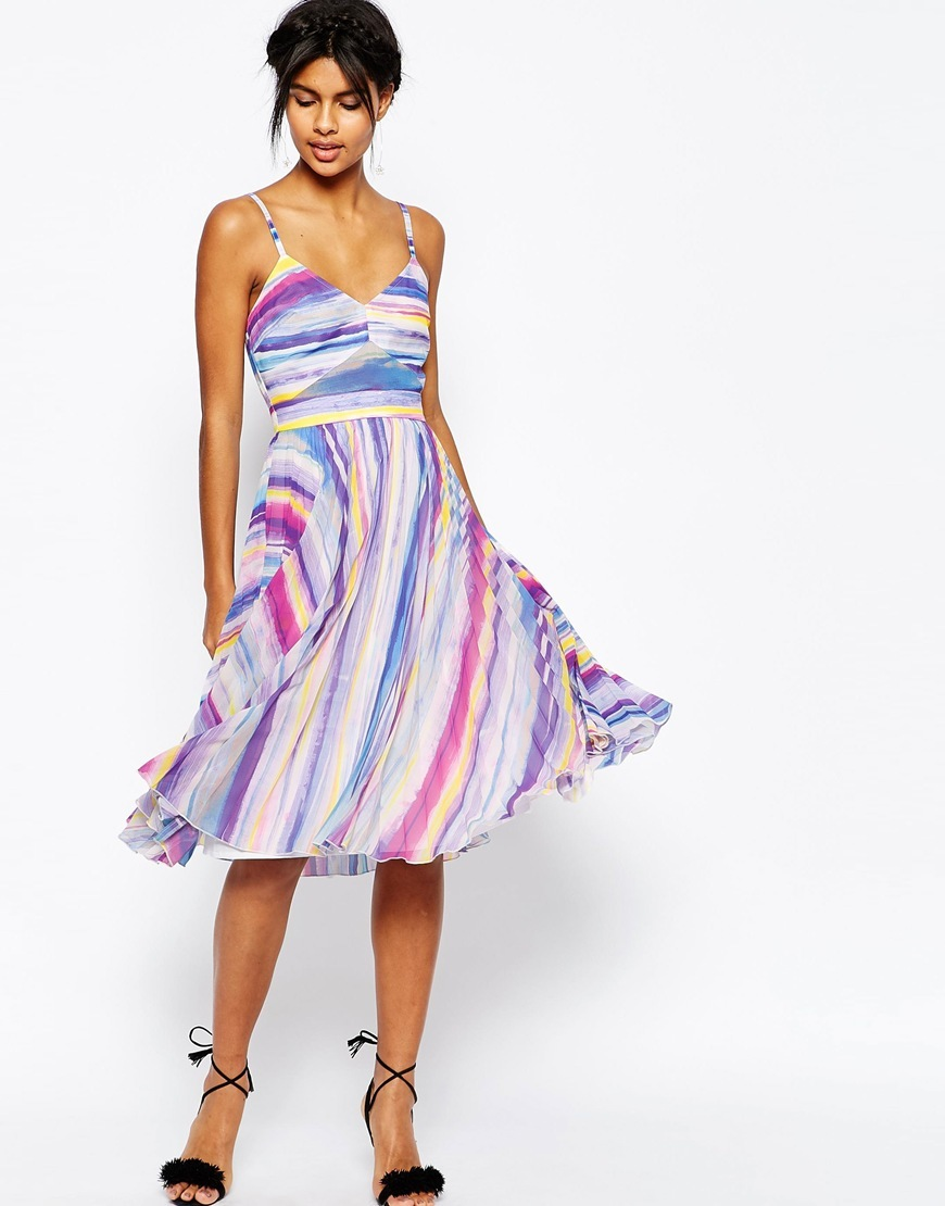 Sheer And Solid Pleated Midi Dress In Bright Stripe Multi - length: below the knee; neckline: low v-neck; sleeve style: spaghetti straps; pattern: striped; predominant colour: ivory/cream; secondary colour: pink; occasions: evening, occasion; fit: fitted at waist & bust; style: fit & flare; fibres: polyester/polyamide - 100%; sleeve length: sleeveless; pattern type: fabric; texture group: other - light to midweight; multicoloured: multicoloured; season: s/s 2016; trends: graphic stripes; wardrobe: event