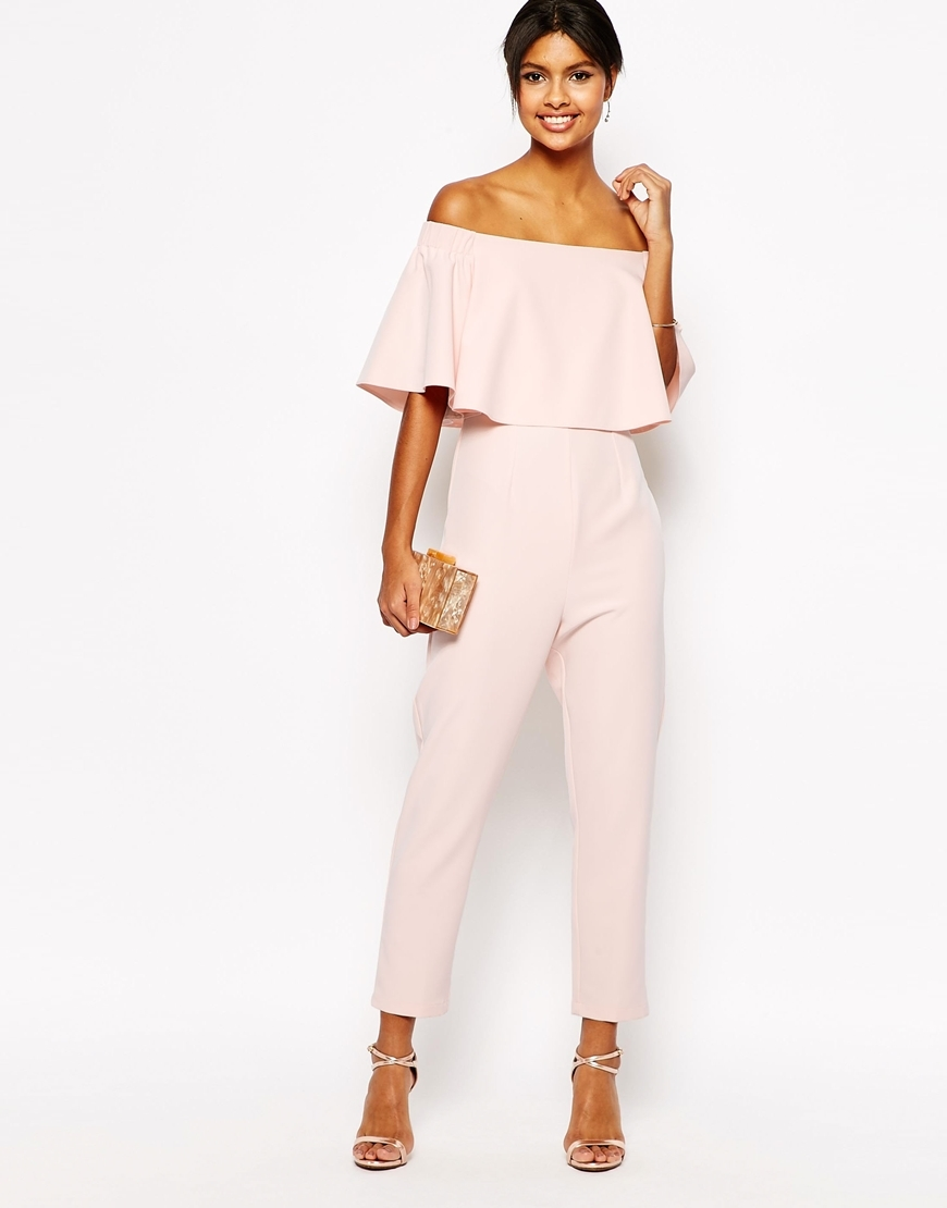 Jumpsuit With Ruffle Bardot Dusty Pink - neckline: off the shoulder; sleeve style: angel/waterfall; fit: tailored/fitted; pattern: plain; predominant colour: blush; occasions: evening, occasion; length: ankle length; fibres: polyester/polyamide - 100%; sleeve length: half sleeve; texture group: crepes; style: jumpsuit; bust detail: bulky details at bust; pattern type: fabric; season: s/s 2016; wardrobe: event