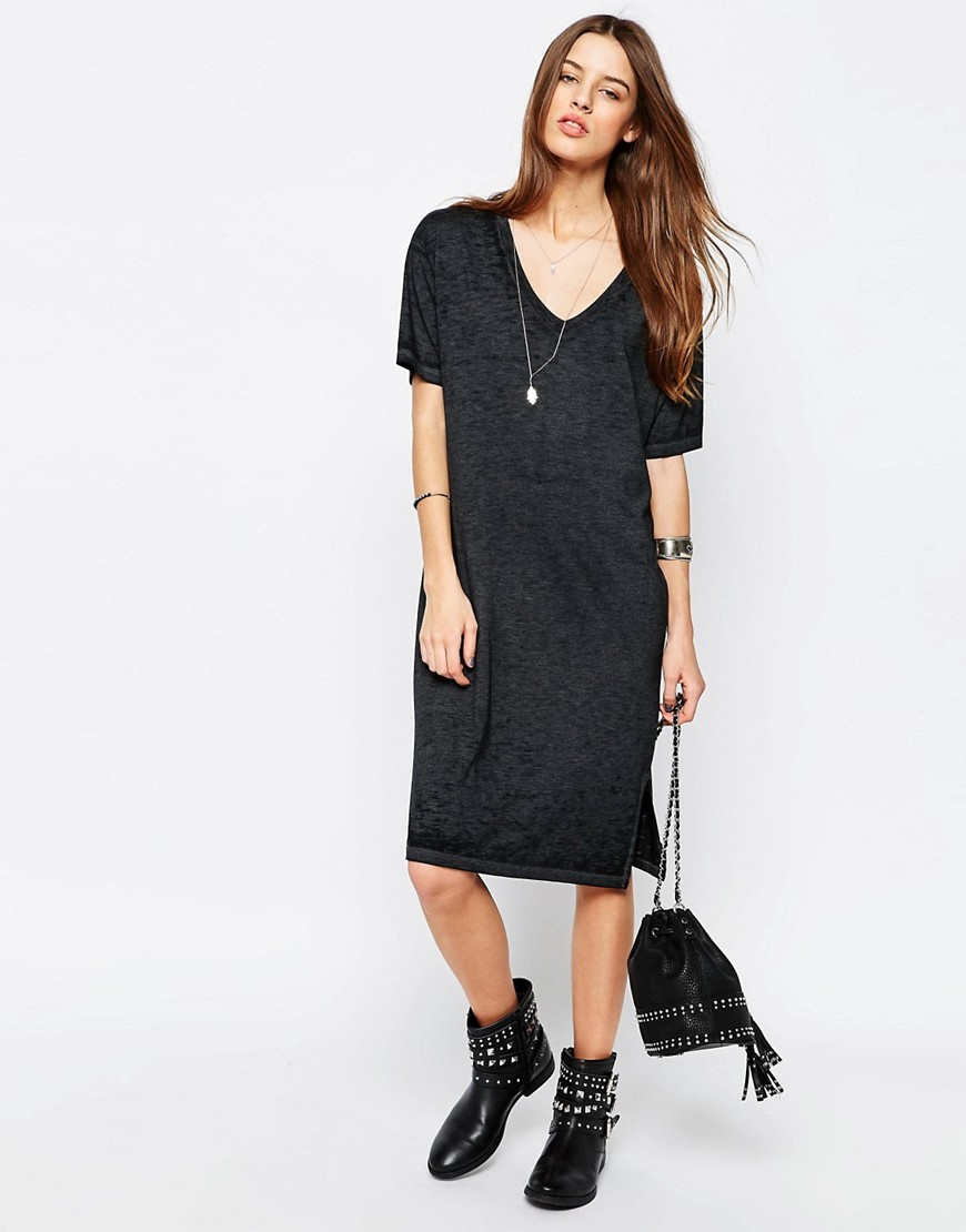 Casual Burnout T Shirt Dress Grey - style: t-shirt; neckline: low v-neck; pattern: plain; predominant colour: charcoal; occasions: casual, creative work; length: on the knee; fit: body skimming; fibres: polyester/polyamide - mix; sleeve length: half sleeve; sleeve style: standard; pattern type: fabric; texture group: jersey - stretchy/drapey; season: s/s 2016