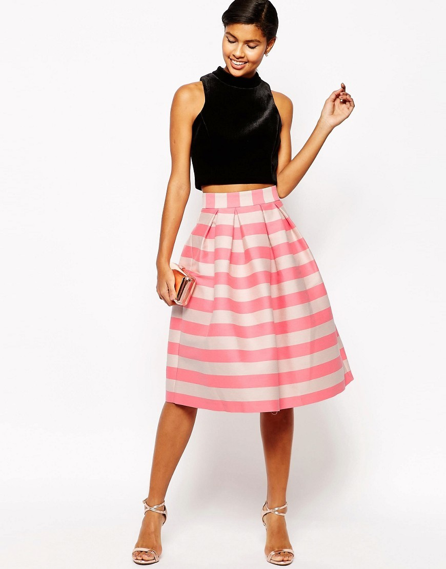 Midi Prom Skirt In Pink And Nude Stripe Pink/Nude - length: below the knee; style: full/prom skirt; fit: loose/voluminous; waist: high rise; predominant colour: pink; secondary colour: nude; fibres: cotton - mix; occasions: occasion, creative work; pattern type: fabric; texture group: woven light midweight; pattern size: big & busy (bottom); pattern: horizontal stripes (bottom); season: s/s 2016; wardrobe: highlight