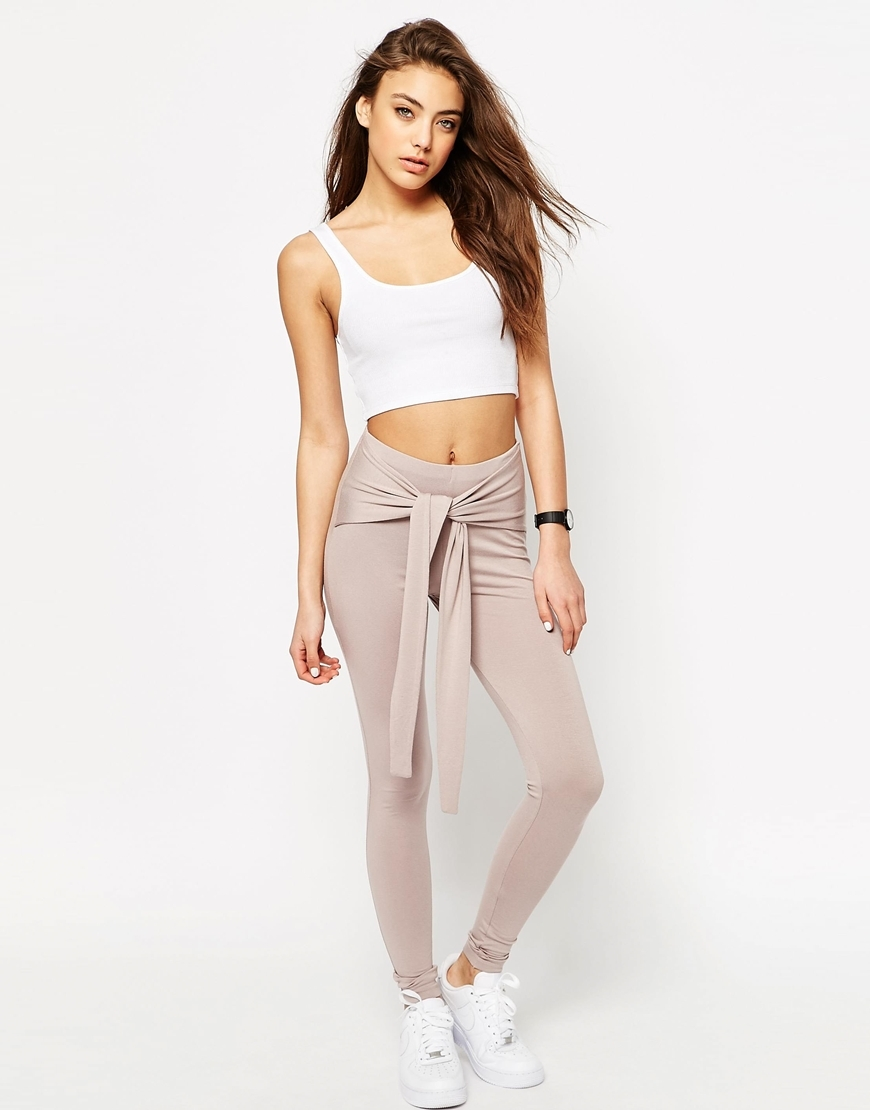 Leggings With Tie Front Taupe - length: standard; pattern: plain; style: leggings; waist: high rise; waist detail: belted waist/tie at waist/drawstring; predominant colour: ivory/cream; occasions: casual, creative work; fibres: viscose/rayon - stretch; texture group: jersey - clingy; fit: skinny/tight leg; pattern type: fabric; season: s/s 2016; wardrobe: basic