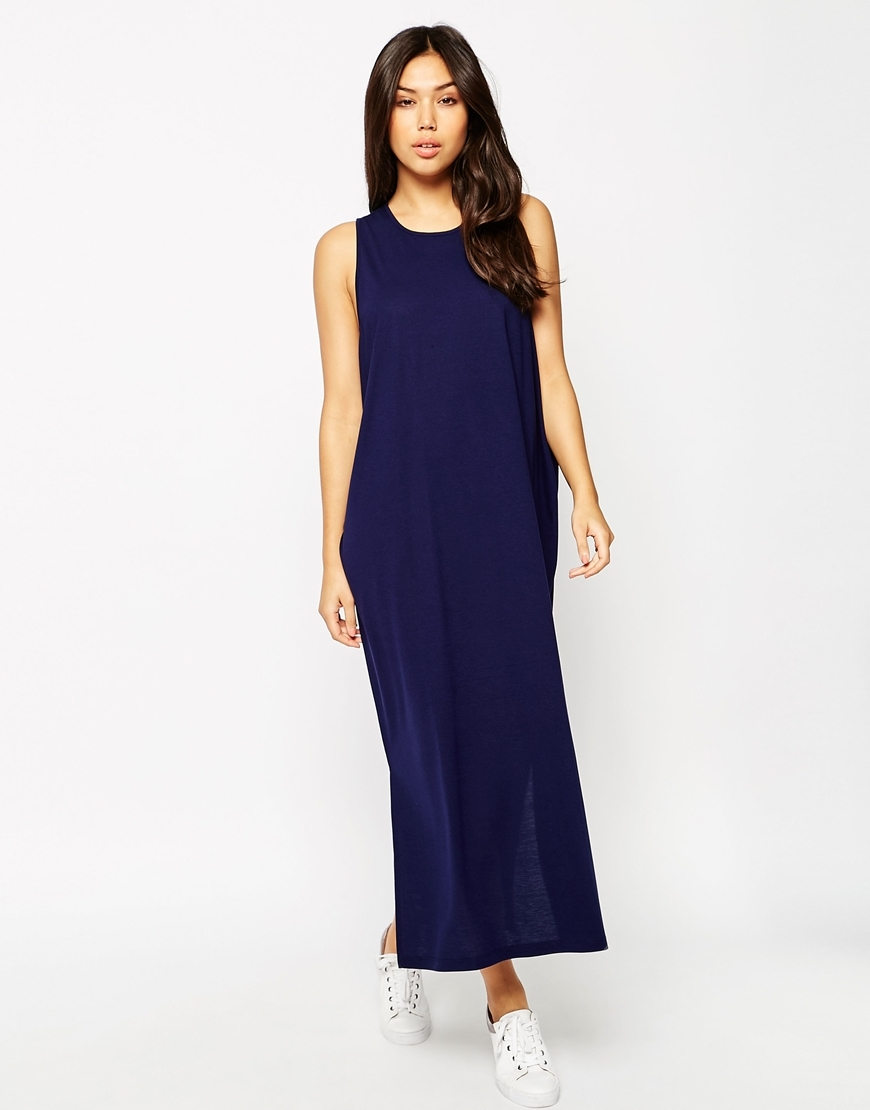 Casual Maxi Dress With Split Sides Navy - pattern: plain; sleeve style: sleeveless; style: maxi dress; length: ankle length; predominant colour: navy; occasions: evening; fit: body skimming; fibres: polyester/polyamide - mix; neckline: crew; sleeve length: sleeveless; pattern type: fabric; texture group: jersey - stretchy/drapey; season: s/s 2016; wardrobe: event