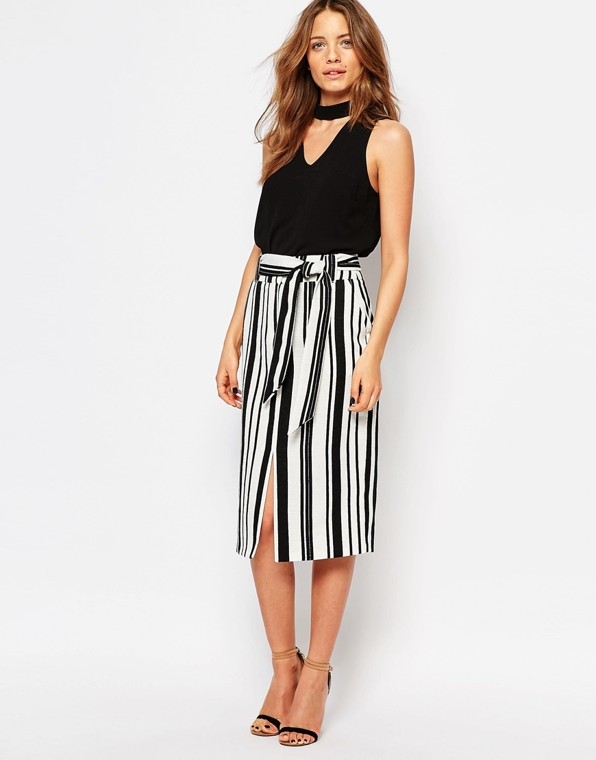 Textured Stripe Pencil Skirt Black & White - length: below the knee; pattern: vertical stripes; style: straight; waist: high rise; waist detail: belted waist/tie at waist/drawstring; secondary colour: white; predominant colour: black; occasions: casual, creative work; fibres: polyester/polyamide - 100%; fit: straight cut; pattern type: fabric; texture group: other - light to midweight; pattern size: big & busy (bottom); season: s/s 2016; wardrobe: highlight