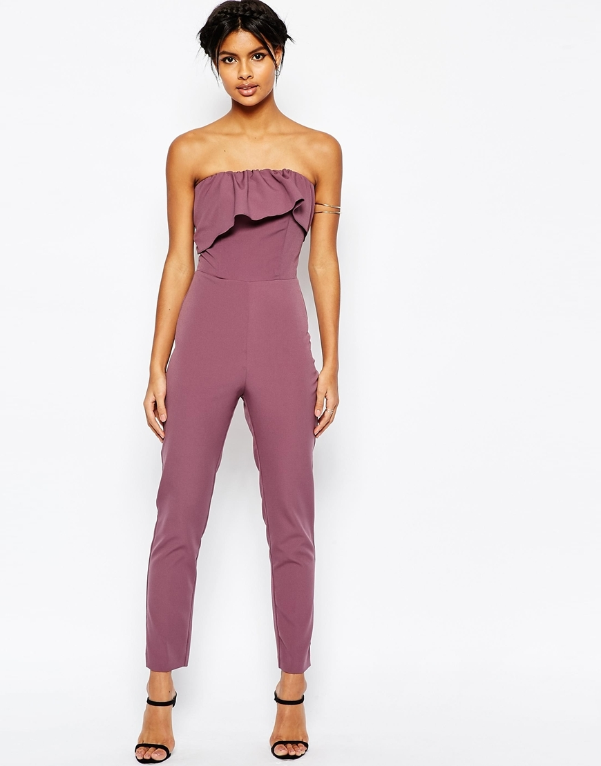 Occasion Ruffle Bandeau Jumpsuit Dusky Lilac - length: standard; neckline: strapless (straight/sweetheart); fit: tailored/fitted; pattern: plain; sleeve style: strapless; predominant colour: lilac; occasions: evening, occasion; fibres: polyester/polyamide - stretch; sleeve length: sleeveless; style: jumpsuit; bust detail: bulky details at bust; pattern type: fabric; texture group: other - light to midweight; season: s/s 2016; wardrobe: event