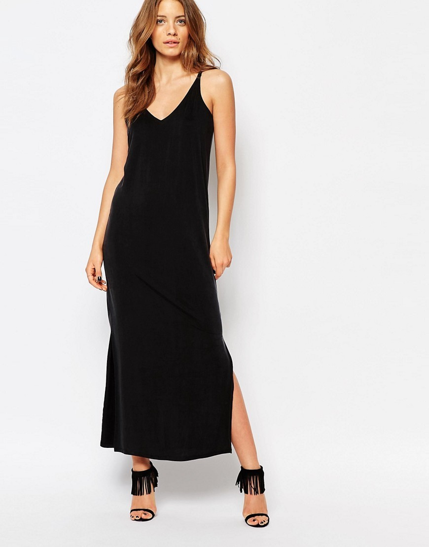 Premium Cupro Side Split Midi Dress Grey - neckline: low v-neck; sleeve style: spaghetti straps; pattern: plain; style: maxi dress; length: ankle length; predominant colour: black; occasions: evening; fit: body skimming; fibres: cotton - stretch; hip detail: slits at hip; sleeve length: sleeveless; pattern type: fabric; texture group: jersey - stretchy/drapey; season: s/s 2016; wardrobe: event