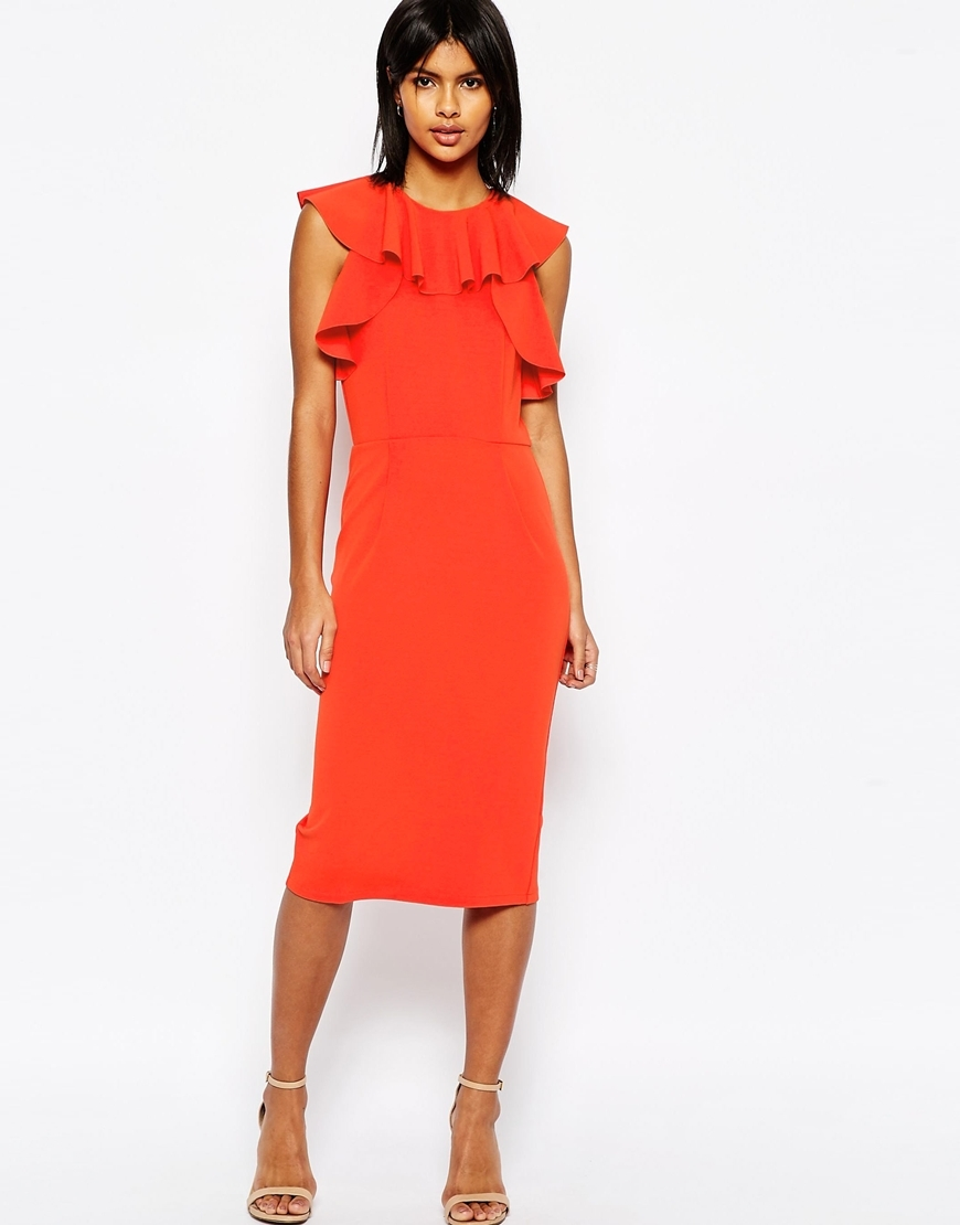 Pencil Dress With Ruffle Detail Orange - style: shift; length: below the knee; pattern: plain; sleeve style: sleeveless; predominant colour: bright orange; occasions: evening; fit: body skimming; fibres: polyester/polyamide - stretch; neckline: crew; sleeve length: sleeveless; texture group: crepes; bust detail: bulky details at bust; pattern type: fabric; season: s/s 2016; wardrobe: event