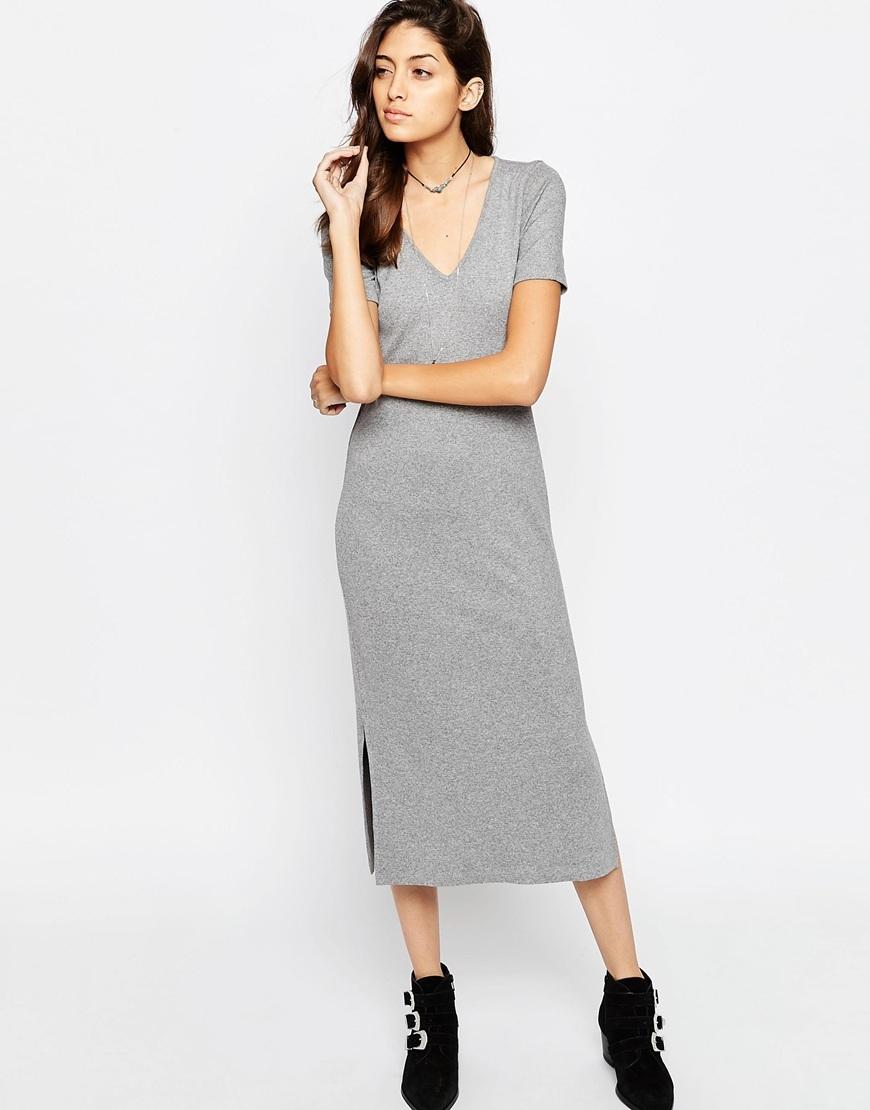 Ribbed T Shirt Midi Dress With V Neck Grey - style: t-shirt; length: calf length; neckline: low v-neck; pattern: plain; hip detail: draws attention to hips; predominant colour: light grey; occasions: casual; fit: body skimming; fibres: viscose/rayon - stretch; sleeve length: short sleeve; sleeve style: standard; pattern type: fabric; texture group: jersey - stretchy/drapey; season: s/s 2016; wardrobe: basic