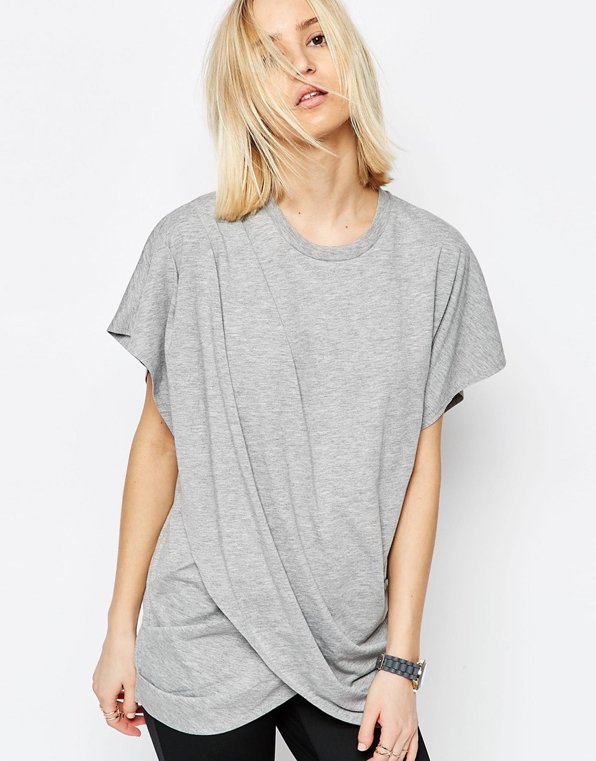 Cross Wrap Front Longline T Shirt Grey - pattern: plain; length: below the bottom; style: t-shirt; predominant colour: light grey; occasions: casual; fibres: polyester/polyamide - mix; fit: body skimming; neckline: crew; sleeve length: short sleeve; sleeve style: standard; pattern type: fabric; texture group: jersey - stretchy/drapey; season: s/s 2016