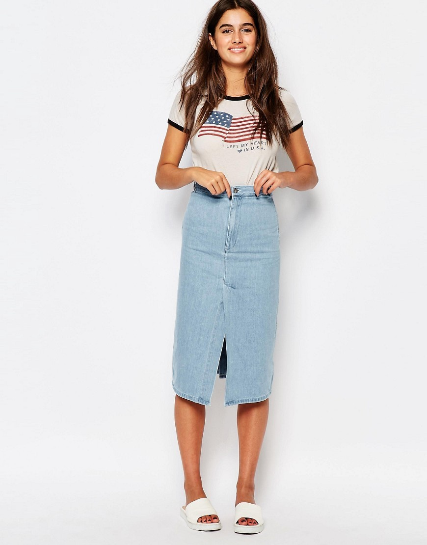 Denim Midi Skirt Lightblue - length: below the knee; pattern: plain; style: pencil; fit: body skimming; waist: mid/regular rise; predominant colour: denim; occasions: casual; fibres: cotton - 100%; hip detail: slits at hip; texture group: denim; pattern type: fabric; season: s/s 2016; wardrobe: basic