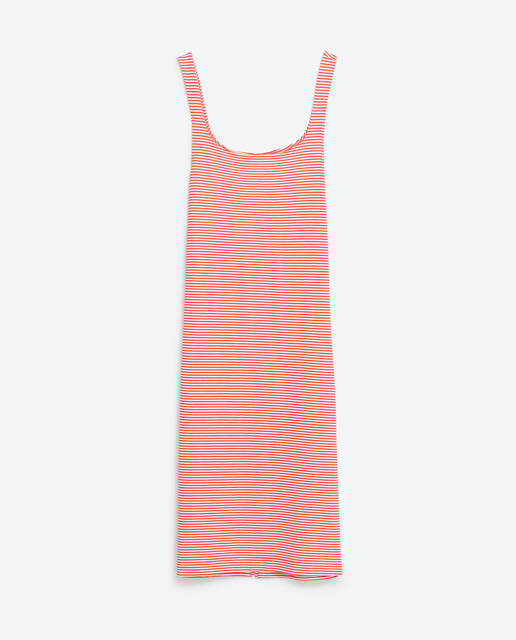 Basic Dress - sleeve style: standard vest straps/shoulder straps; pattern: horizontal stripes; style: vest; back detail: low cut/open back; secondary colour: white; predominant colour: true red; occasions: casual; length: on the knee; fit: body skimming; neckline: scoop; fibres: cotton - stretch; sleeve length: sleeveless; texture group: jersey - clingy; pattern type: fabric; pattern size: standard; season: s/s 2016; wardrobe: highlight