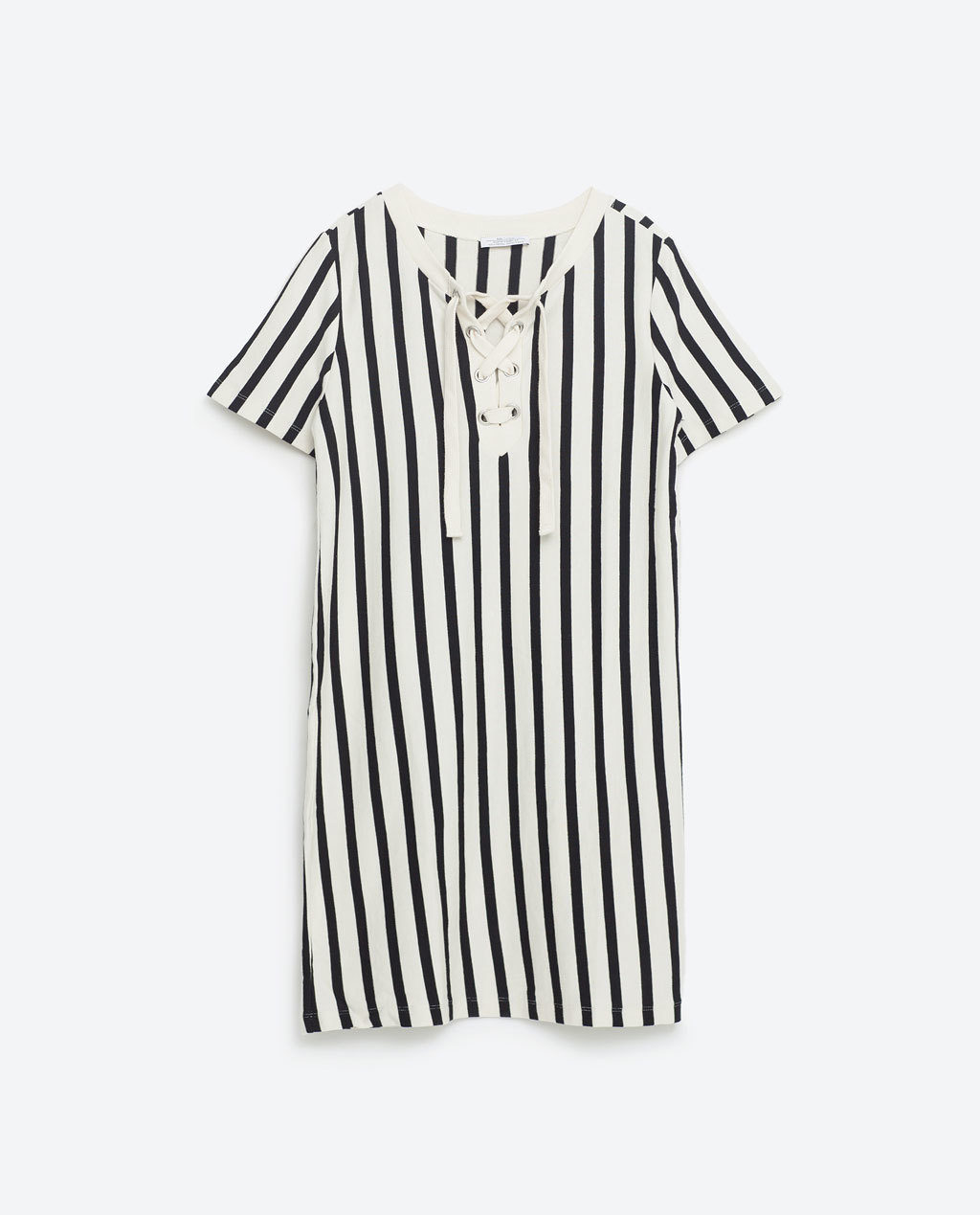 Striped Dress With Cords - style: t-shirt; length: mid thigh; neckline: round neck; pattern: vertical stripes; bust detail: added detail/embellishment at bust; secondary colour: white; predominant colour: black; occasions: casual; fit: straight cut; fibres: cotton - mix; sleeve length: short sleeve; sleeve style: standard; trends: monochrome; texture group: cotton feel fabrics; pattern type: fabric; pattern size: standard; season: s/s 2016; wardrobe: highlight
