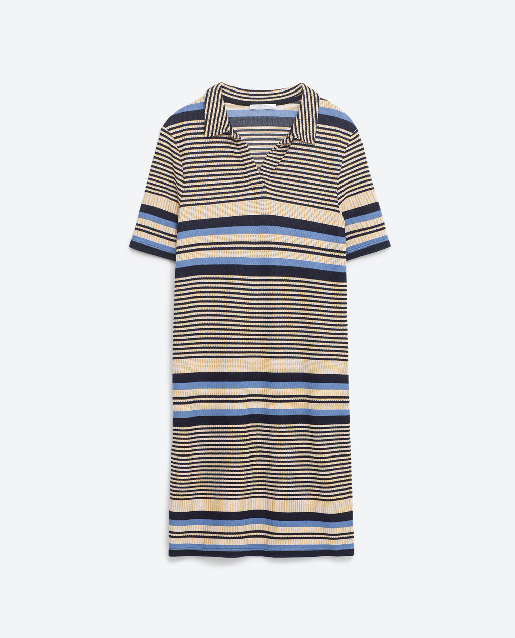 Polo Neck Dress - style: t-shirt; neckline: shirt collar/peter pan/zip with opening; pattern: horizontal stripes; secondary colour: nude; predominant colour: black; occasions: casual; length: just above the knee; fit: body skimming; fibres: viscose/rayon - stretch; sleeve length: short sleeve; sleeve style: standard; pattern type: fabric; texture group: jersey - stretchy/drapey; multicoloured: multicoloured; season: s/s 2016; wardrobe: basic