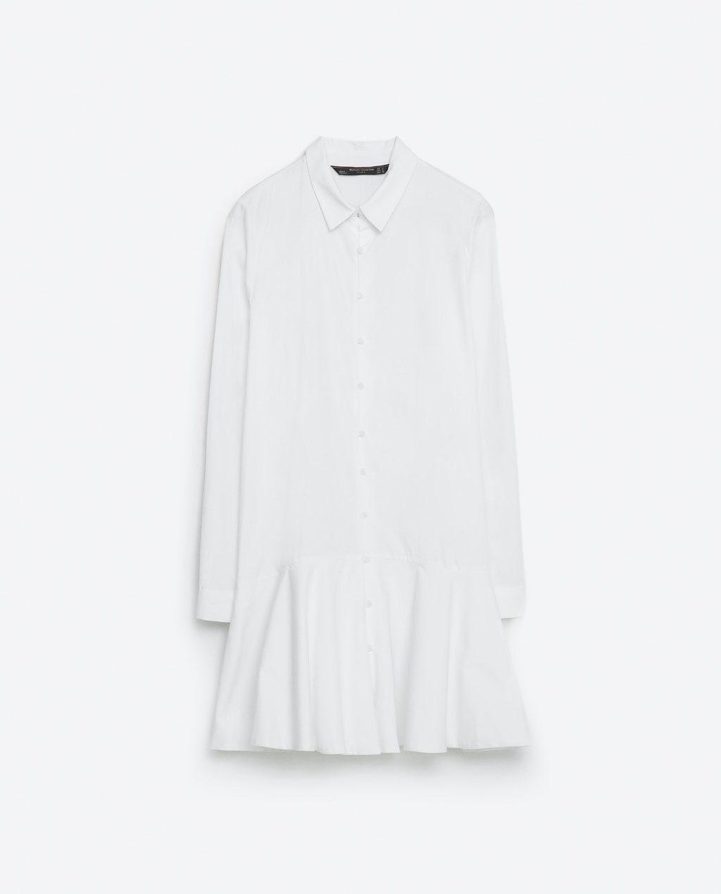 Shirt Dress - style: shirt; neckline: shirt collar/peter pan/zip with opening; pattern: plain; predominant colour: white; occasions: casual; length: just above the knee; fit: body skimming; fibres: cotton - 100%; sleeve length: long sleeve; sleeve style: standard; texture group: cotton feel fabrics; pattern type: fabric; season: s/s 2016; wardrobe: basic
