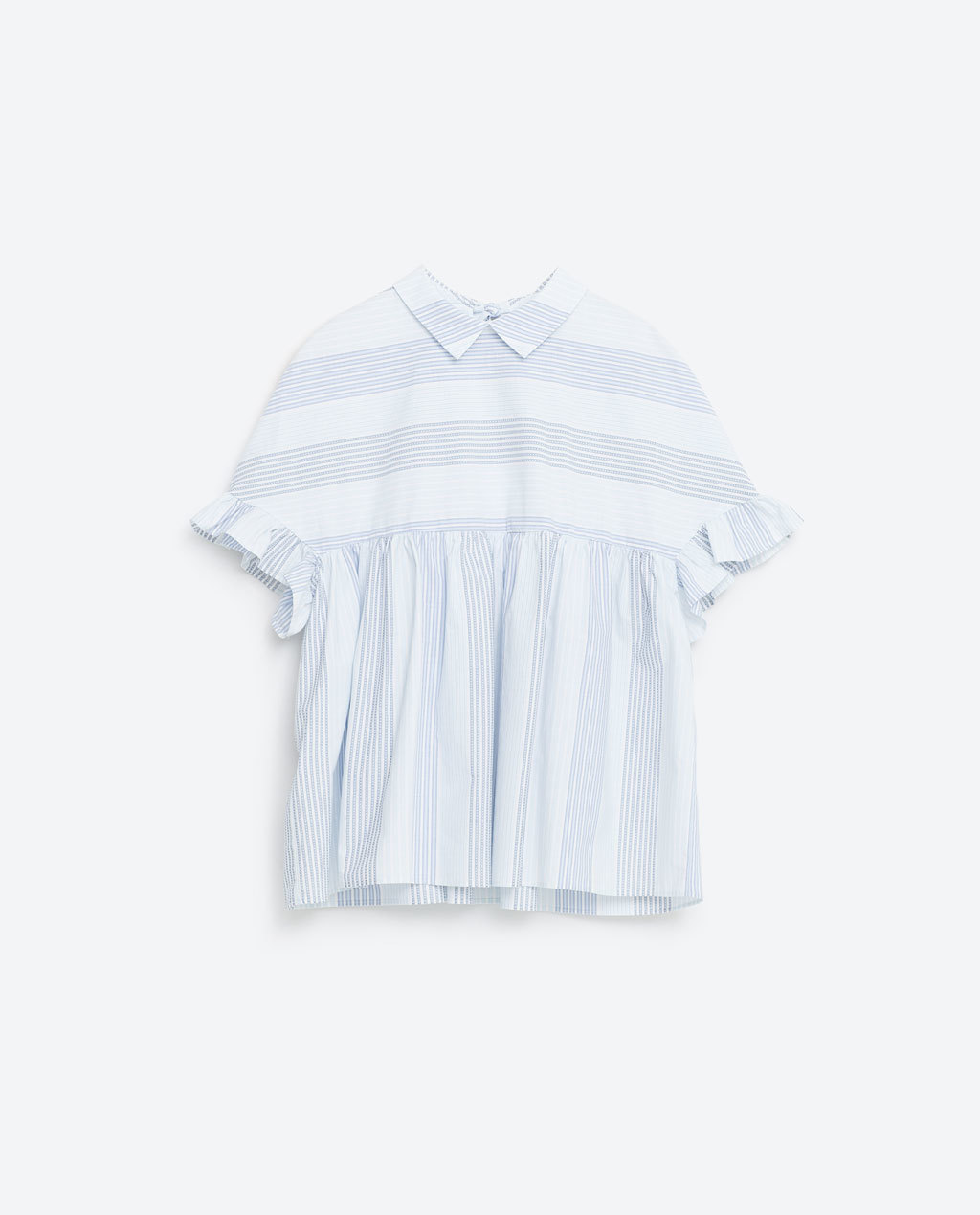 Voluminous Top - pattern: striped; style: blouse; predominant colour: white; secondary colour: royal blue; occasions: casual, creative work; length: standard; fibres: cotton - mix; fit: loose; neckline: no opening/shirt collar/peter pan; sleeve length: short sleeve; sleeve style: standard; pattern type: fabric; texture group: woven light midweight; season: s/s 2016; wardrobe: highlight