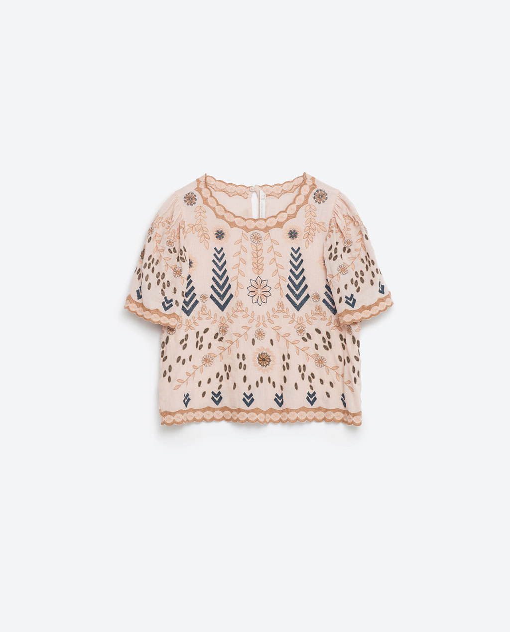 Embroidered Top - neckline: round neck; predominant colour: blush; secondary colour: navy; occasions: casual; length: standard; style: top; fibres: cotton - 100%; fit: body skimming; sleeve length: short sleeve; sleeve style: standard; texture group: cotton feel fabrics; pattern type: fabric; pattern: patterned/print; embellishment: embroidered; multicoloured: multicoloured; season: s/s 2016; wardrobe: highlight