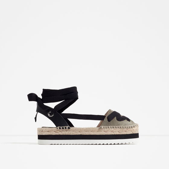 Leather Lace Up Espadrilles - secondary colour: khaki; predominant colour: black; occasions: casual, holiday; material: fabric; heel height: flat; ankle detail: ankle tie; toe: round toe; finish: plain; pattern: plain; style: espadrilles; shoe detail: platform; multicoloured: multicoloured; season: s/s 2016