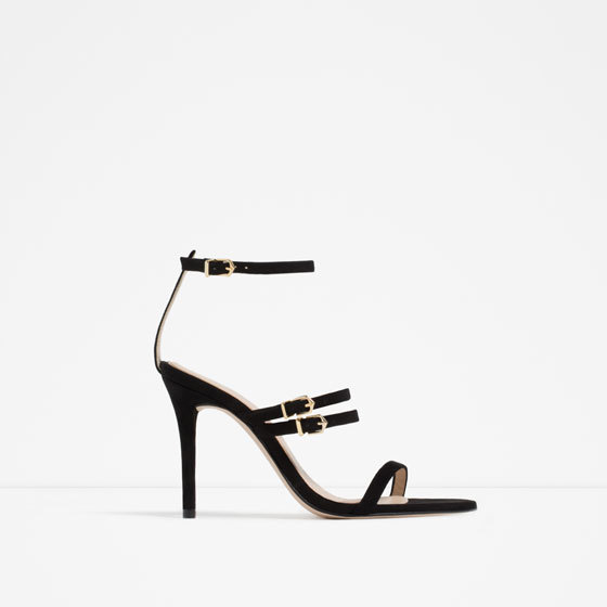 Leather Strappy Sandals - predominant colour: black; occasions: evening, occasion; material: leather; heel height: high; ankle detail: ankle strap; heel: stiletto; toe: open toe/peeptoe; style: strappy; finish: patent; pattern: plain; season: s/s 2016; wardrobe: event