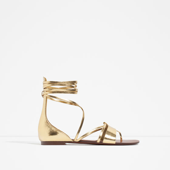 Flat Lace Up Sandals - predominant colour: gold; occasions: casual, holiday; material: faux leather; heel height: flat; ankle detail: ankle strap; heel: stiletto; toe: open toe/peeptoe; style: strappy; finish: metallic; pattern: plain; season: s/s 2016; wardrobe: basic