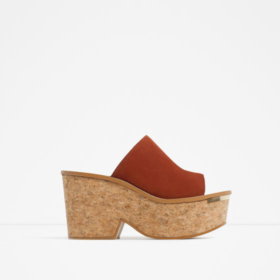 Cork And Leather Wedges - predominant colour: terracotta; secondary colour: stone; occasions: casual; material: suede; heel height: mid; heel: block; toe: open toe/peeptoe; style: slides; finish: plain; pattern: colourblock; shoe detail: platform; season: s/s 2016; wardrobe: highlight