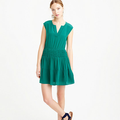 Petite Silk Smocked Waist Dress - length: mini; neckline: v-neck; sleeve style: capped; pattern: plain; style: drop waist; predominant colour: emerald green; occasions: evening; fit: body skimming; fibres: silk - 100%; sleeve length: short sleeve; texture group: silky - light; pattern type: fabric; season: s/s 2016; wardrobe: event