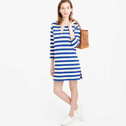 Striped Tunic - neckline: v-neck; pattern: horizontal stripes; style: tunic; predominant colour: royal blue; secondary colour: royal blue; occasions: casual; fibres: cotton - 100%; fit: straight cut; length: mid thigh; sleeve length: 3/4 length; sleeve style: standard; texture group: cotton feel fabrics; pattern type: fabric; season: s/s 2016