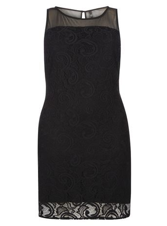 Black Lace Shift Dress - style: shift; length: mid thigh; sleeve style: sleeveless; predominant colour: black; occasions: evening; fit: body skimming; neckline: crew; sleeve length: sleeveless; texture group: lace; pattern type: fabric; pattern size: standard; pattern: patterned/print; fibres: nylon - stretch; embellishment: lace; season: s/s 2016