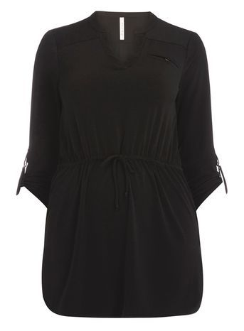 Black Jersey Shirt Tunic - neckline: v-neck; pattern: plain; style: tunic; waist detail: belted waist/tie at waist/drawstring; predominant colour: black; occasions: casual; fibres: polyester/polyamide - stretch; fit: loose; length: mid thigh; sleeve length: 3/4 length; sleeve style: standard; pattern type: fabric; texture group: jersey - stretchy/drapey; season: s/s 2016; wardrobe: basic