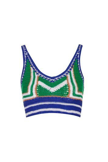 Rio Crochet Bralet - neckline: low v-neck; sleeve style: spaghetti straps; length: cropped; secondary colour: royal blue; predominant colour: emerald green; occasions: casual; fibres: cotton - 100%; fit: tight; sleeve length: sleeveless; texture group: knits/crochet; pattern type: knitted - other; pattern size: standard; pattern: colourblock; style: bandeau/bralet; multicoloured: multicoloured; trends: pretty girl; season: s/s 2016; wardrobe: highlight