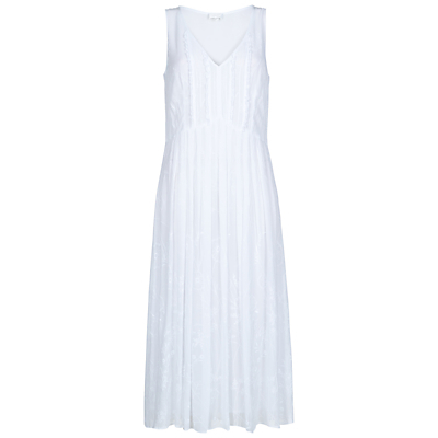 Poppy Dress, White - length: calf length; neckline: v-neck; fit: empire; pattern: plain; sleeve style: sleeveless; style: sundress; predominant colour: white; occasions: casual, holiday; fibres: viscose/rayon - 100%; sleeve length: sleeveless; pattern type: fabric; texture group: other - light to midweight; season: s/s 2016; wardrobe: basic