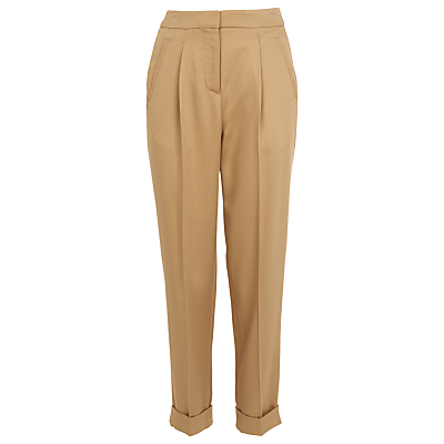 Pleat Front Twill Trousers - length: standard; pattern: plain; style: peg leg; waist: high rise; predominant colour: camel; occasions: work, creative work; fibres: viscose/rayon - 100%; fit: straight leg; pattern type: fabric; texture group: woven light midweight; season: s/s 2016; wardrobe: basic