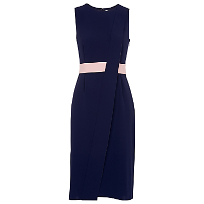Front Split Dress, Navy - style: shift; sleeve style: sleeveless; waist detail: belted waist/tie at waist/drawstring; secondary colour: blush; predominant colour: navy; occasions: evening; length: on the knee; fit: body skimming; fibres: viscose/rayon - 100%; neckline: crew; sleeve length: sleeveless; texture group: crepes; pattern type: fabric; pattern size: standard; pattern: colourblock; multicoloured: multicoloured; season: s/s 2016; wardrobe: event